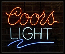 """Wholesale Neon Lights Decorating - Coors Light Neon Sign Custom Real Glass Tube Bar Disco KTV Motel Hotel PUB Advertised Decorating LED Display Neon Signs 17""""X14"""""""