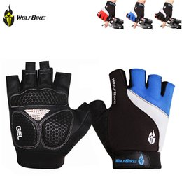Wholesale Golf Gloves Red - Wolfbike Breathable Mountain Road Cycling Gloves 3D GEL Anti-slip Bike Golves Anti-shock Half Finger Bicycle Gloves DHL Y0156