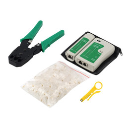 Wholesale Tester Rj11 Rj45 - Network Cable Tester Tools Kits 4 in 1 Portable Ethernet RJ45 Head Crimping Crimper Stripper Punch Down RJ11 Cat5 Cat6 Wire Line Detectors