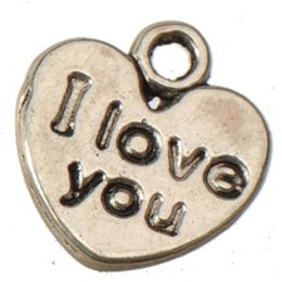 Double coeurs en métal en Ligne-composants de bijoux coeur breloques pendentifs à vendre bracelets colliers rétro argent je t'aime double en gros bricolage métal nouveau 11mm 500pcs