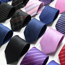 Wholesale gray necktie - 2018 New Fashion Silk Necktie Dot Striped Mens Dress Tie Wedding Business Dress Tie For Men Neckwear Handmade Wedding Tie Accessories