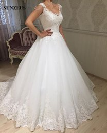 Wholesale Long Puffy Corset Dresses - A-line Scoop Neckline Princess Wedding Dresses Beaded Appliques Corset Bridal Gowns Low Back Long Puffy Tulle Bride Dress 2017 New