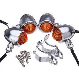 Canada 4x fourchette de déplacement de lumière ambre de clignotant de moto de balle de chrome faite sur commande Offre