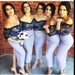 Wholesale White N Pink Wedding Dress - Wedding Lavender Chiffon Black Lace Short Bridesmaid Dresses Off the Shoulder Half Sleeve with Split Mid-Calf Column Lace V-n Party Dress