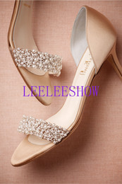Wholesale Satin Almond Toe Pumps - 2015 Elegant Wedding Shoes With Subtle Pearls Stiletto Short Heels Beautiful Bridal Shoes Gold High Heels Pumps Wedding Bride Shoes