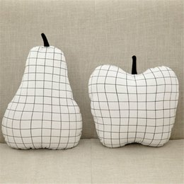 Wholesale Apples Pillows - Wholesale- DIY Kids Grid Pear Pillow Grid Apple Pillows Cushions Baby Pillow Toys Cotton Stuffed Lattice Pillows Sleeping Toy