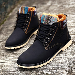 Wholesale High Ankle Boots For Men - XiaGuoCai 2017 High Top Fashion Men Boots Warm Waterproof Military Winter Boots for Men Leather Tactical Shoes Black X9 35