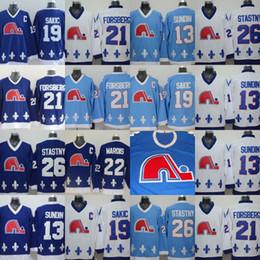 Argentina Quebec Nordiques Jerseys Stiched 13 Mats Sundin 19 Joe Sakic 21 Peter Forsberg 22 Mario Marois 26 Peter Stastny Vintage Retro Hockey Jerseys Suministro