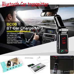 Wholesale Mini Radio Transmitter - BC06 Mini Portable Mp3 Bluetooth Car Kit FM Transmitter LCD USB Charger Handsfree For iPhone Sansung