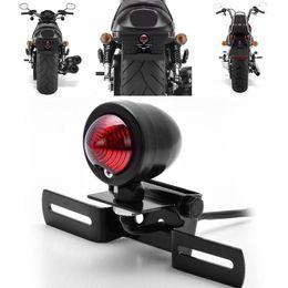 Wholesale Chopper Brake Tail Light - Motorcycle Black Metal Brake Stop Plate Mount Tail Light For Harley Chopper Bobber