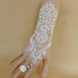 Wholesale Embellished Flowers - Chic Hollow Long Lace Bridal Gloves With Pearls Embellished Flower Ring Chain Wedding Brides Glove