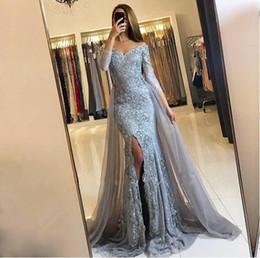 Wholesale Long Grey Formal Dresses - Newest 2018 Gorgeous Mermaid Evening Dresses Front Split Lace Appliques Off the Shoulder Prom Dresses Long Sleeves Grey Formal Wear
