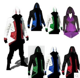 Wholesale Japanese Costume Male - Hot Sale Assassins Creed 3 III Conner Kenway Hoodie Coat Jacket Cosplay Costume