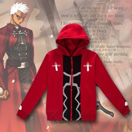 Wholesale Red Stay - Anime Fate Stay Night Red UBW Archer Emiya Hoodies Jacket Cosplay Costumes Unisex Hooded Sweatshirts Coat Casual Sport Wear Tops