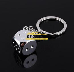 Wholesale chrome housing - Car Stylish Chrome Silver Dice Key Chain Ring Fob - for house home  car truck  bike keys Brand New Free Shipping