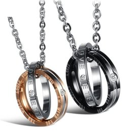Wholesale Eternal Love Necklace - Couple Necklace 316L Stainless Steel ETERNAL LOVE Lettering Name Logo Double Circle Pendant Necklaces For Lovers Ataullah NWC026