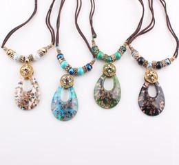 Wholesale Hot Summer Jewelry - European Hot Sale Summer Drop Murano Lampwork Glass Pendant Necklace Jewelry Wholesale ZN75