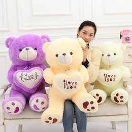 Wholesale Teddy Bear Cute Heart - 50cm 19 inch 19'' Teddy Bear Cute Stuffed Bear Toys heart Teddy Bears Soft Plush Doll one piece birthday gifts cheap 201505HX