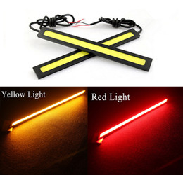 Wholesale 12v Led Warning Lights - Easy to Install 2*17CM COB LEDs Universal Ultra-thin DC12V LED Strip Car Daytime Running Light 9W DRL Warning Fog Auto Lamp Yellow Red
