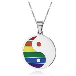 Wholesale Pride Pendant Necklace - Fashion Yin and Yang Pendant Necklace Stainless Steel Rainbow Gay Pride Pendants with Tai Chi Bagua Design