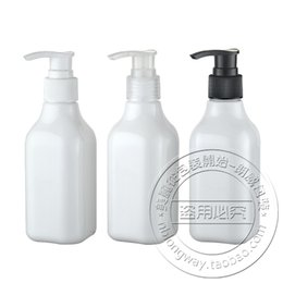 Wholesale bamboo cosmetic packaging - Wholesale- Free Shipping Empty Body Lotion Packaging Bottle 200Ml White Square Cosmetic Bottle With Lotion Pump