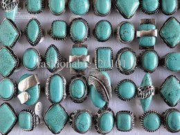 Wholesale Gemstones Settings - Large tibetan tribe Silver Tone Turquoise Gemstone Rings Mixed Sizes New Jewelry 25pcs lot free shipping R105