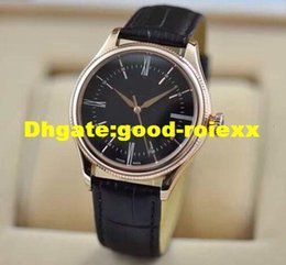 Wholesale Gold Watch Brown Leather Strap - Luxury Men's Automatic Movement Watch Men Classic Cellini 18k Rose Gold Calf Leather Strap Watches Business 39mm Wristwatches