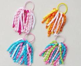 Wholesale O Hair - 100PCS Girl pony O A-korker Ponytail various color ribbons streamers hair bows with elastic corker hair bows 5inch korkers hair ties PD002
