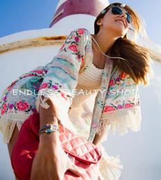 Wholesale Fringe Cardigan - Wholesale- New Women Boho Fringe Floral Kimono Cardigan Tassels Beach Cover Up Cape Jacket