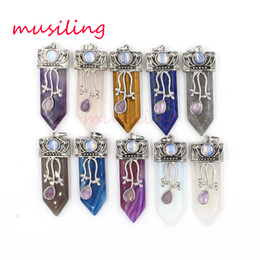 Wholesale Gray Agate - Pendant Necklace Chain Mens Jewelry Natural Stone Sword Reiki Pendulum Crystal Quartz Agate etc Europe and America Charms Amulet Accessories