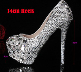 Wholesale Crystal Diamond Wedding Heels - Silver Custom Make plus size high heel crystals and rhinestones bridal wedding Pumps shoes Diamond Lady Shoes Party Prom High Heels