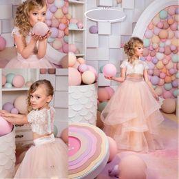 Wholesale Girls Glitz Pageant Dresses Short - Gorgeous Pink Glitz Pageant Dresses Mother Daughter Gowns 2 Pieces Flower Girl Dresses For Wedding Kids Evening Dress Kids Formal Wear