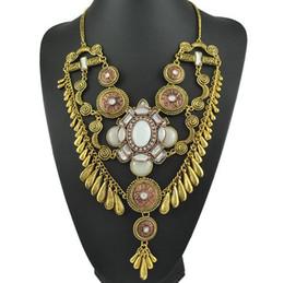 Wholesale Vintage Teardrop Rhinestone Necklace Pendant - New Vintage Ethnic Gemstone Brand Necklace Jewelry For Women Metal Carving Teardrop Resin Rhinesonte Inlaid Tassel Pendant Necklaces N0281