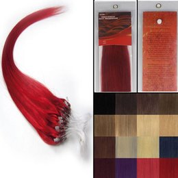 "Wholesale Micro Ring Hair Extensions Red - 16''-22""Silky Straight Micro Loop ring beads Natural hair extensions Grade AAA weaving hair #red ,100strands pack"