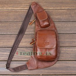 Wholesale Travel Sling Leather - Wholesale-New Men Genuine Leather Vintage Travel Hiking Shoulder Cross Body Messenger Sling Pack Chest Casual Bag