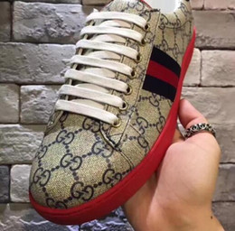 Wholesale 38 Rounds - 2017 Europe station new trend classic G print sport casual men's shoes red heel blue red mandarin duck size 38--44