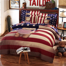 Wholesale Kids Doona Covers - Teddy bear bedding set Kids king size queen twin cartoon quilt doona duvet cover 100% cotton bed sheets bedspreads striped linen bedlinen