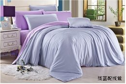 Lujo azul claro púrpura lila juego de cama queen funda nórdica king size cama doble en una bolsa de sábanas edredón doona 4 unids tencel occidental desde fabricantes