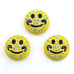 Wholesale smile face button - Fashion 18mm Snap Buttons Yellow Rhinestone Smiling Face Ginger Clasps DIY Noosa Interchangeable Bracelets Jewelry Accessories