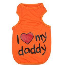 Wholesale Pet Clothes Patterns - Orange Cute Dog Puppy Cotton Summer Vest Pet Clothes I Love My Daddy Pattern Shirt Apparel Clothing Size S L
