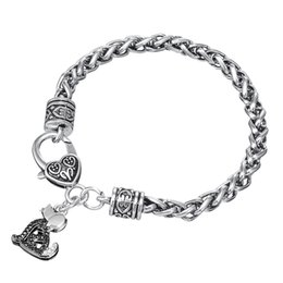 Wholesale Dog Gym - 10pcs Vintage Metal Antique Silver Plated Crystal Cute Dog Pendant Gym Bracelet Women and Bangle with Biker Jewelry