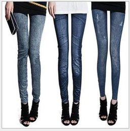 Wholesale Cheap Cotton Leggings Girls - 20 Style Leggings for Big Girls Leggings Imitation Jeans Cheap Ripped Denim Spandex Graffiti Printed Legging New Wholesale Leggings K6092