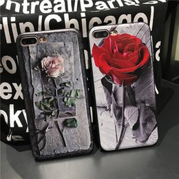 Wholesale Rose Paintings - Fashion Luxury Painted 3D Relief case For iPhone X 8 6S plus Case rose Flower Cell Cover for iphone 6 7plus Phone Cases