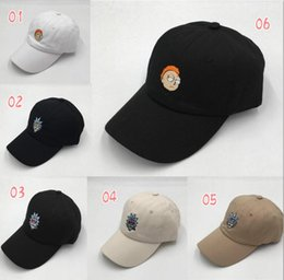 Wholesale Crazy Girls - Rick and Morty New Khaki Dad Hat Crazy Rick Baseball Cap American Anime Cotton Embroidery dad hats Snapback Anime lovers Cap Men Women