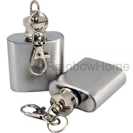 Wholesale Flask Case - 1oz 304 Stainless Steel Hip Flask Alcohol Whiskey Wine Bottle Pocket Russian Flagon Flasks Container PU Leather Case keychain Retail Box