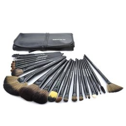 Wholesale Lighted Professional Make Up Case - Makeup Brushes Set kit 24pcs set Professional Makeup Brushes Make Up Cosmetic Brush Set Kit Tool + Roll Up Case Brush Soft Goat Hair 3 Color