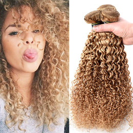 Wholesale Extension Curly Blonde - Top Qulaity 3Pcs Lot Blonde Hair Extensions Kinky Curly Brazilian Virgin Hair Weaving Curly 100% Human Hair Products