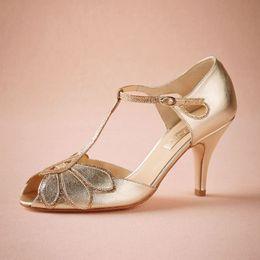 Or Vintage Chaussures De Mariage Femmes Pompes Chaton Talon T-Bretelles Boucle De Fermeture En Cuir Party Dance 3