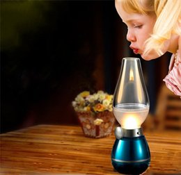 Wholesale Country Style Table Lamps - New novelty LED Blow Light Table Light Desk Lamp 0.4W Vintage Kerosene Lamp Style Adjustable Brightness Energy-saving Night USB Rechargeable