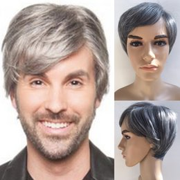 Wholesale Synthetic Wigs For Men - Short Black Mix Silver Colors Wigs For Handsome Men, 8 Inch Straight Heat Resistant Synthetic Wig Grey Color Factory Direct Full Wigs